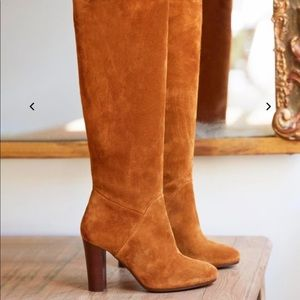 Sezane High Amelie Boots Suede Camel 37